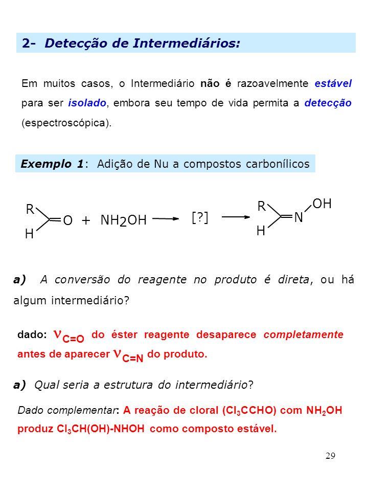 R OH R O + NH 2 OH N H H 2- Detecção de Intermediários: [ ]